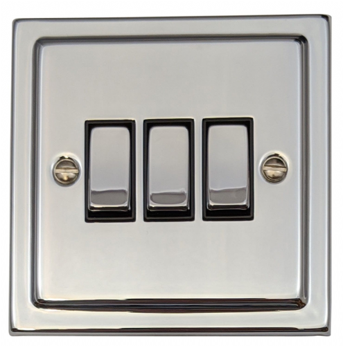 G&H TC303 Trimline Plate Polished Chrome 3 Gang 1 or 2 Way Rocker Light Switch
